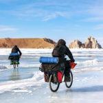 1 Поход по льду Байкала на велосипедах зимой
