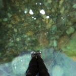 на прозрачном льду байкала в марте