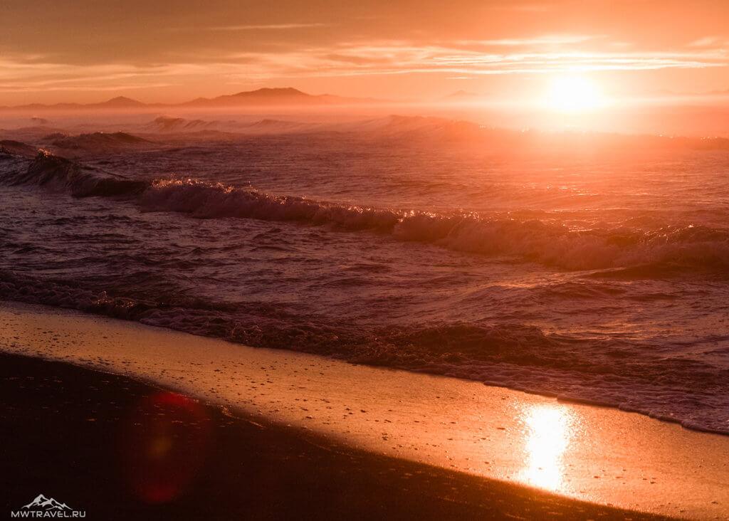 Поход по Камчатке: закат океан халактырский пляж