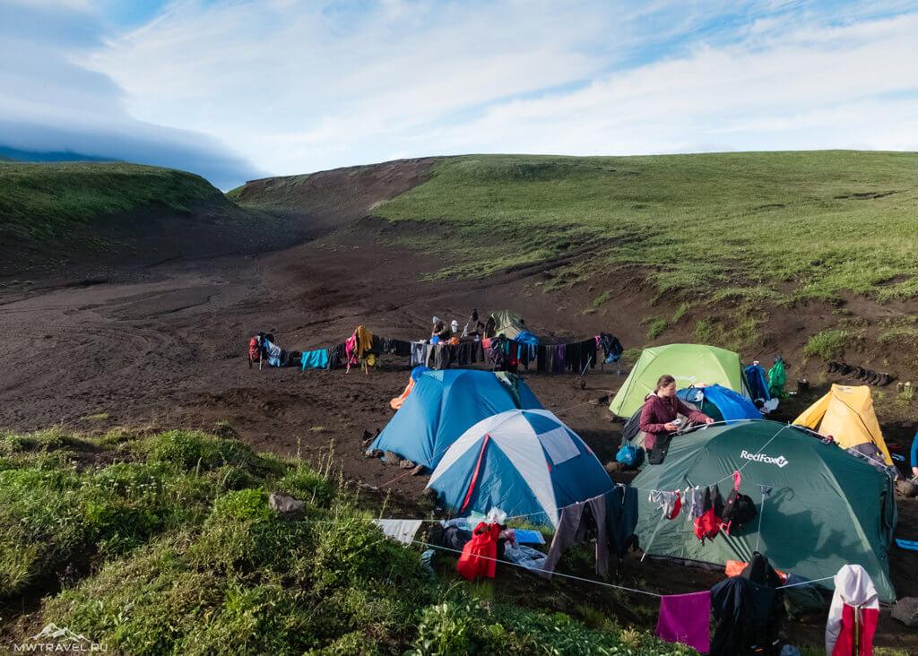 Поход по Камчатке: лагерь