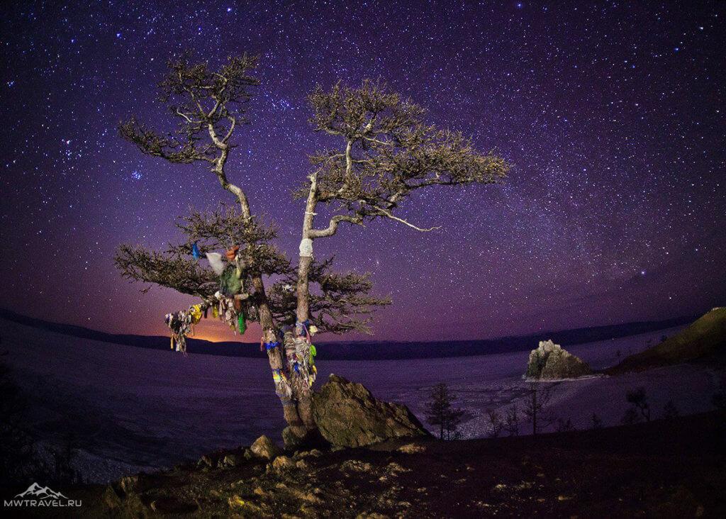 Звездное небо над Ольхоном зимой