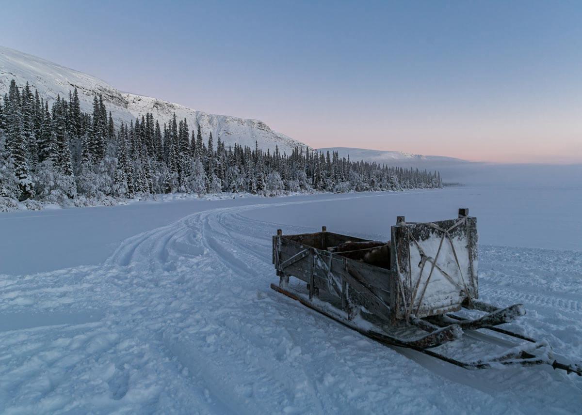 Поездка на снегоходных санях по Сейдозеру