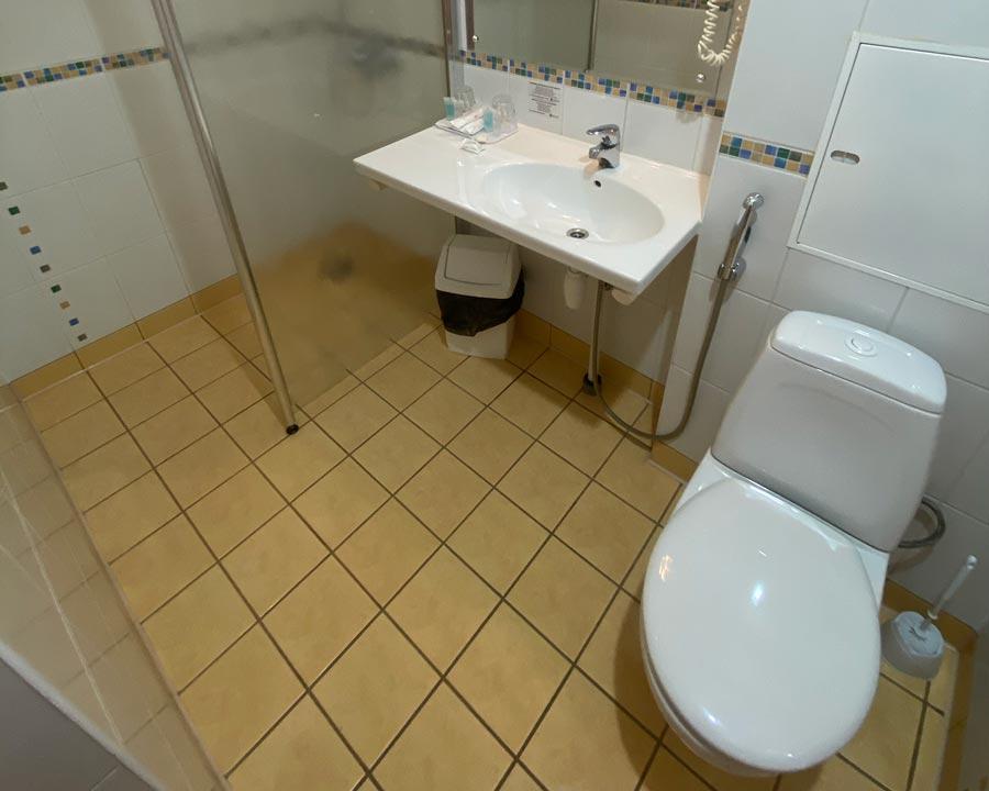Душ и туалет в отеле Меридиан